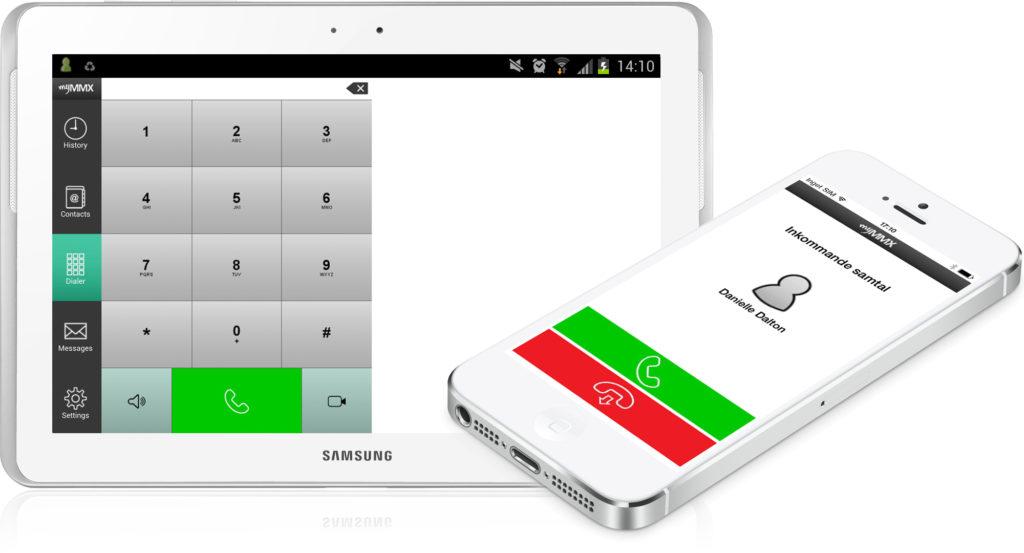 Bilden visar en surfplatta och mobil med myMMX appen