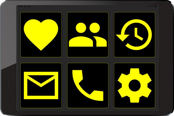 Bilden visar startskärmen för myMMX db i färgläget svart och gul.